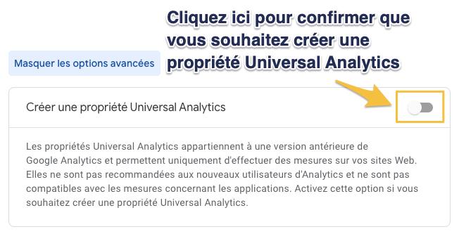 Création d'une propriété Universal Analytics