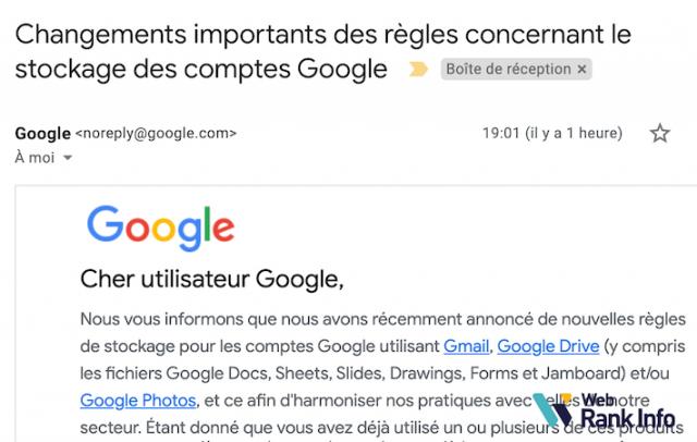 Changement stockage Google 2020-2021