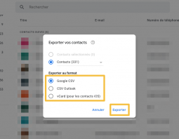Export des contacts Gmail
