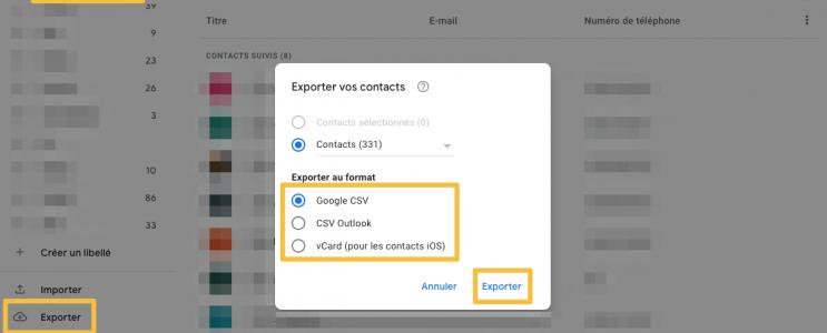 Export des contacts Gmail