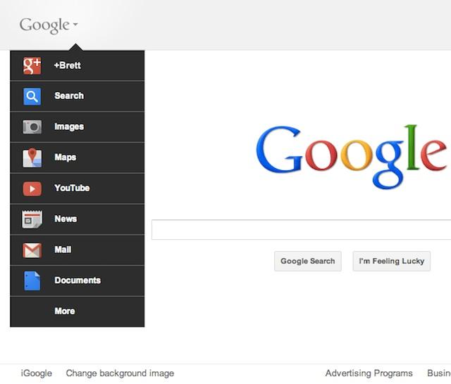 Menu déroulant Google