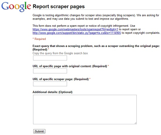 Google : Report scraper pages