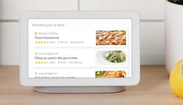 Recette de cuisine sur Nest Hub