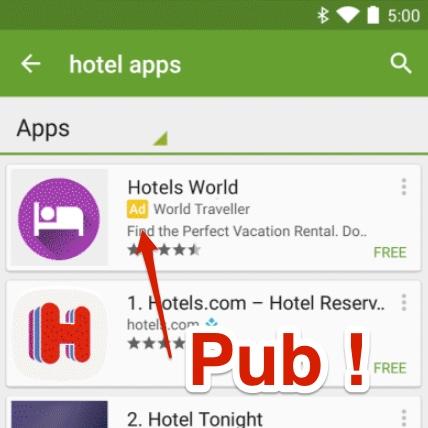 Publicité applis mobiles dans Google Play