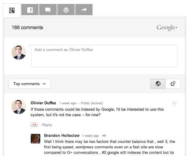 Google Plus Comments (extension WordPress non officielle)