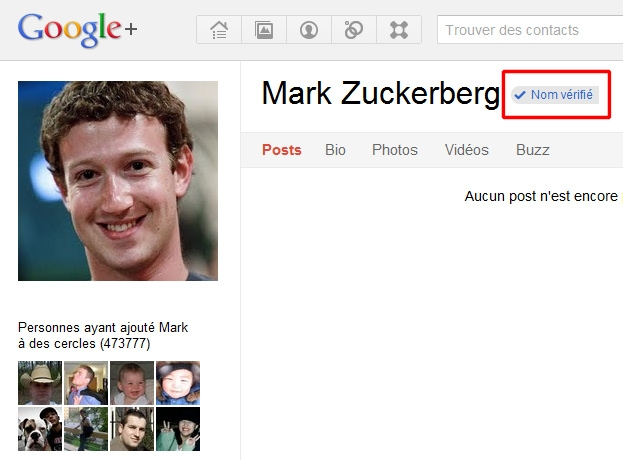 Exemple de compte certifié sur Google Plus