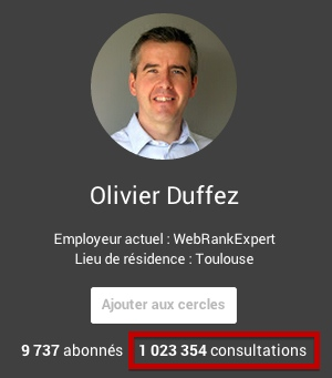 Nb consultations profil Google+