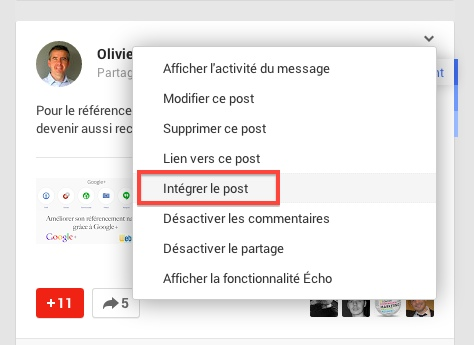 Option d'intégration de post Google+