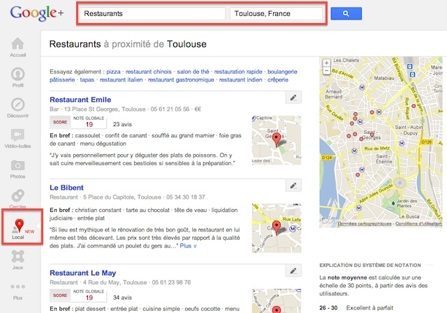 L'interface de Google+ Local