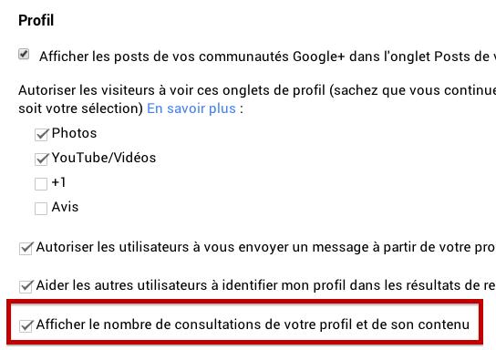 Désactiver nb consultations Google+