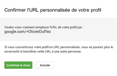 URL personnalisée : confirmation