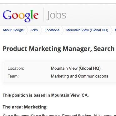 Offre d'emploi Google Search