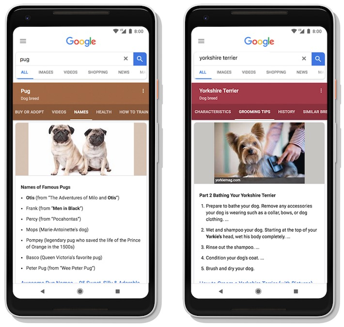 Résultats Google dynamiques