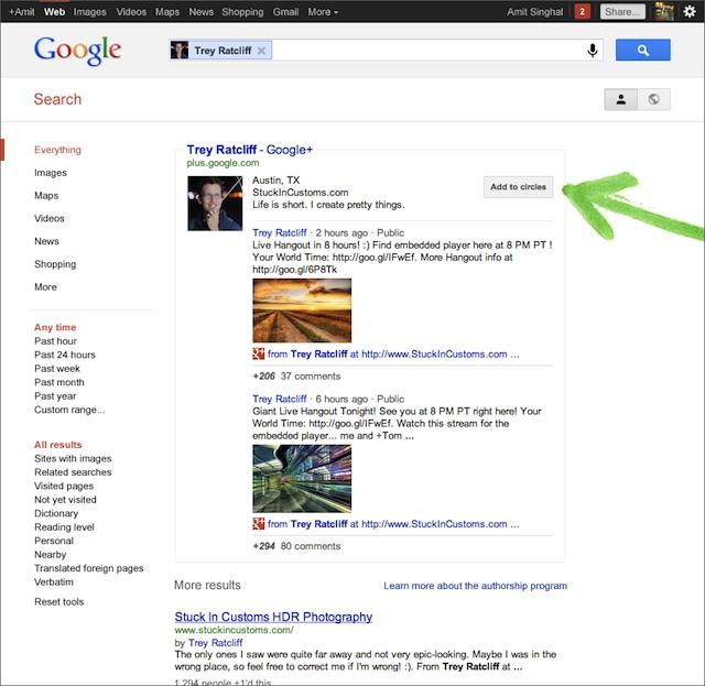 Exemple de page de résultats issue d'un profil Google+