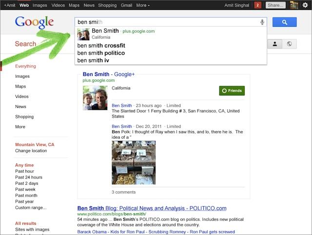 Des profils Google+ apparaissent dans Google Suggest (Google Instant Search)