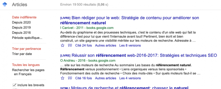 résultats de recherche Google Scholar