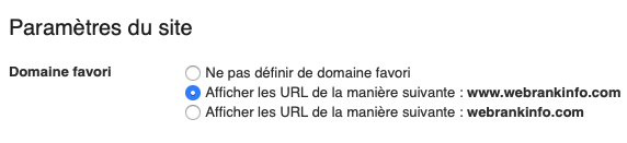 Domaine favori Google Search Console