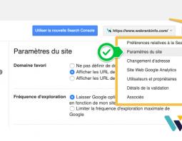Paramètres de site dans google-search-console
