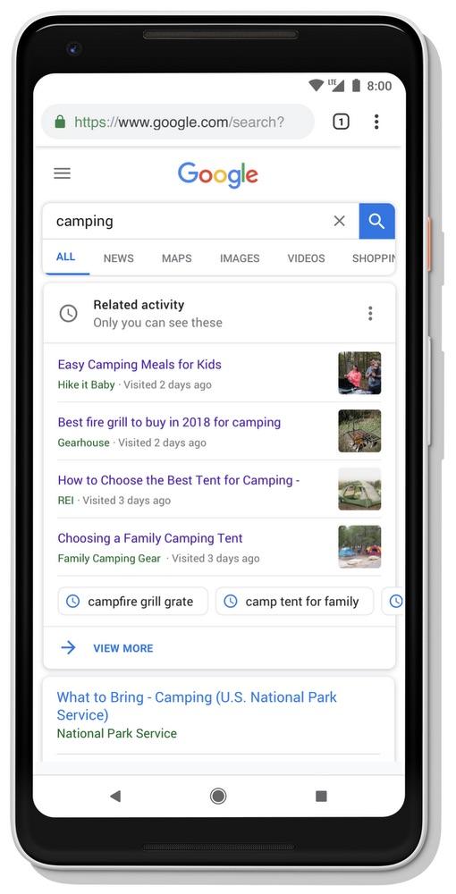 Google Activity Card