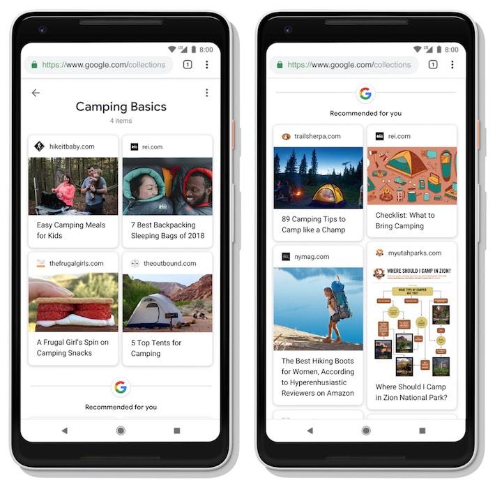 Collections dans SERP Google