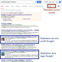 Résultats privés Google