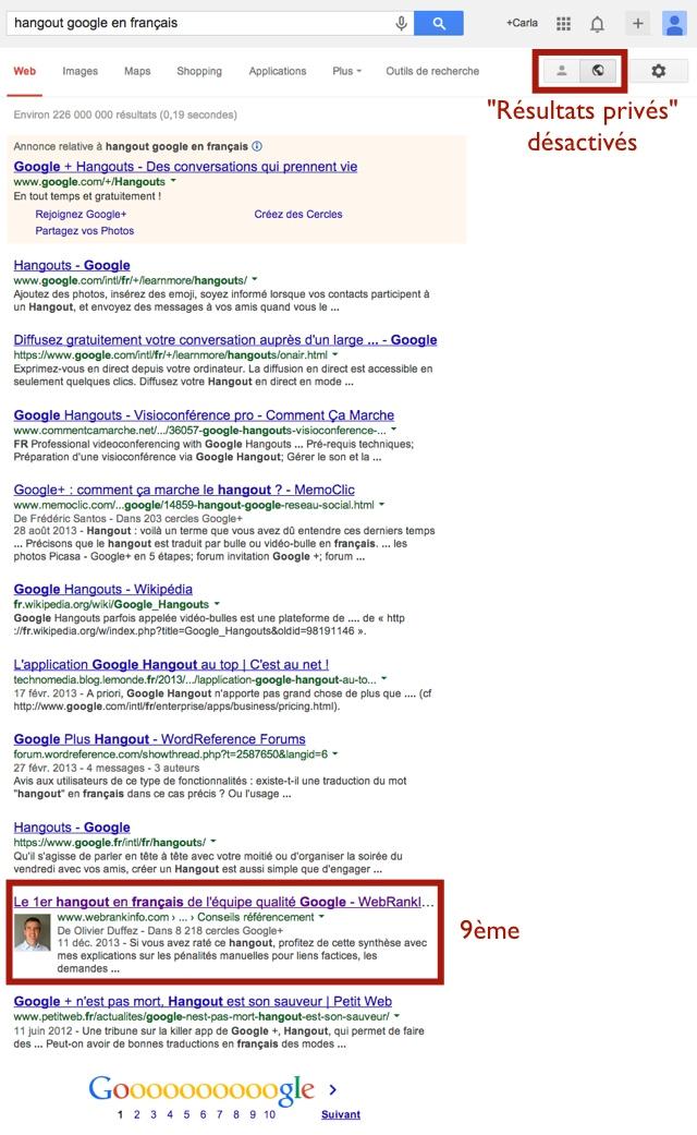 SERP Google résultats privés désactivés