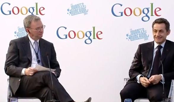 Googleplex de Paris: Eric Schmidt et Nicolas Sarkozy