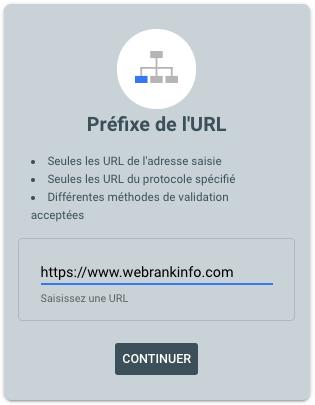 Ajouter une propriété Search Console de type préfixe d'URL