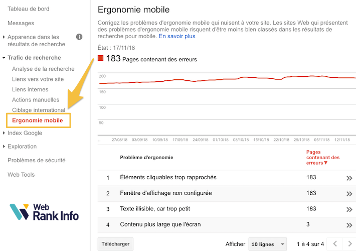 Ergonomie mobile (ancien Search Console)