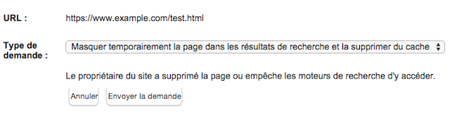 Type de suppression d'URL