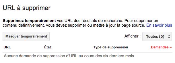 URL à supprimer dans Search Console