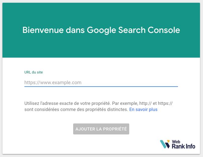 Ajout de propriété Search Console