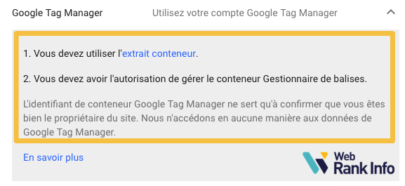Valider propriété GSC Google Tag Manager