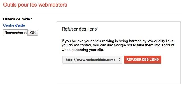 Refuser des backlinks: choix du site