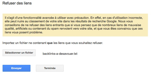 Upload du fichier pour refuser des backlinks