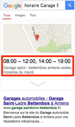 answer box pour les horaires dans les résultats de recherche Google, version mobile