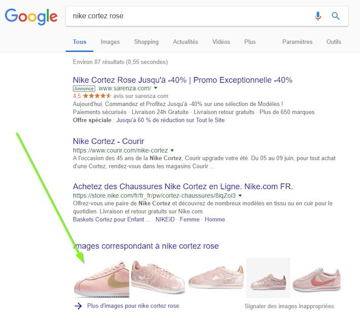 image box produits SERP Google