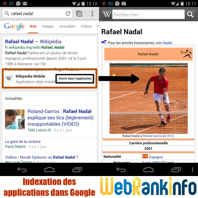 Indexation applications dans Google