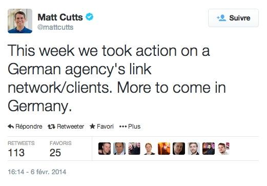Matt Cutts pénalité agence Allemagne