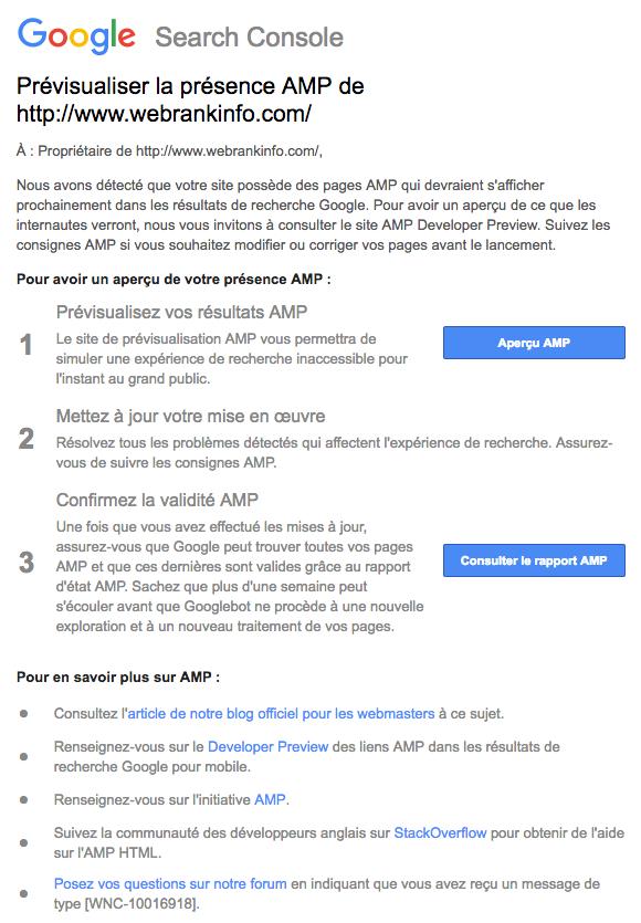 Message AMP dans résultats Google
