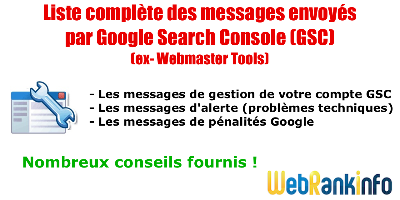 Messages GSC pénalités Google