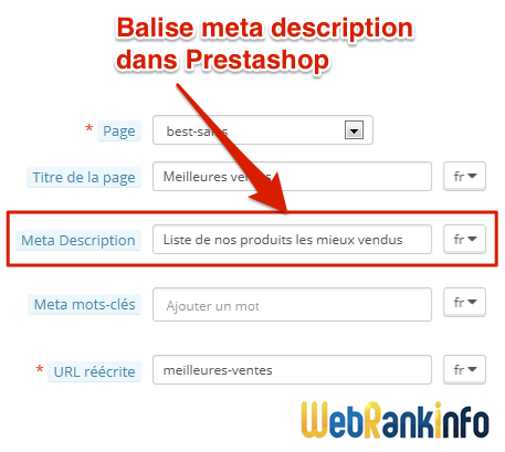 Meta description Prestashop