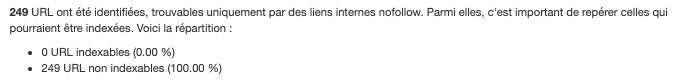 Aucune URL indexable trouvée par liens nofollow