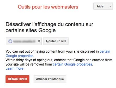 Opt out moteurs verticaux Google