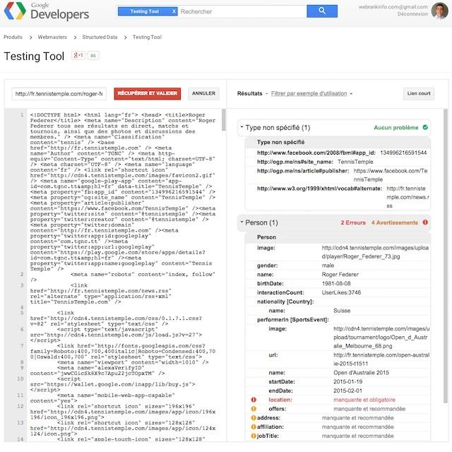 Outil test données structurées