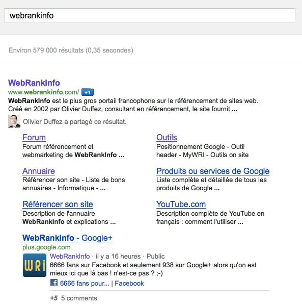 Page Google Plus sous les sitelinks