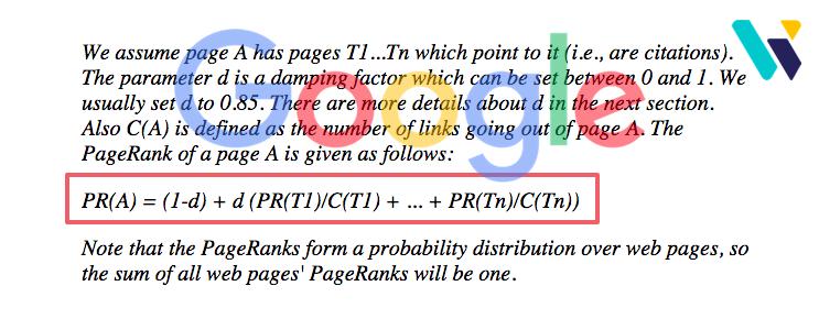 La formule initiale du PageRank