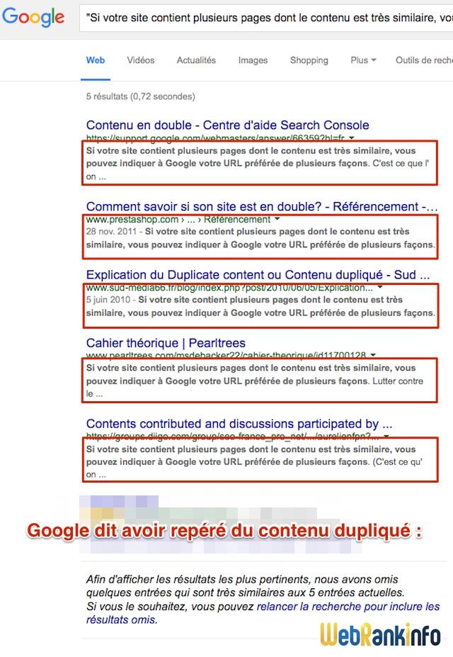 Capture écran duplicate content Google
