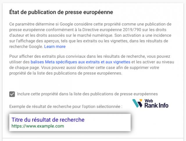 Publication presse européenne activée