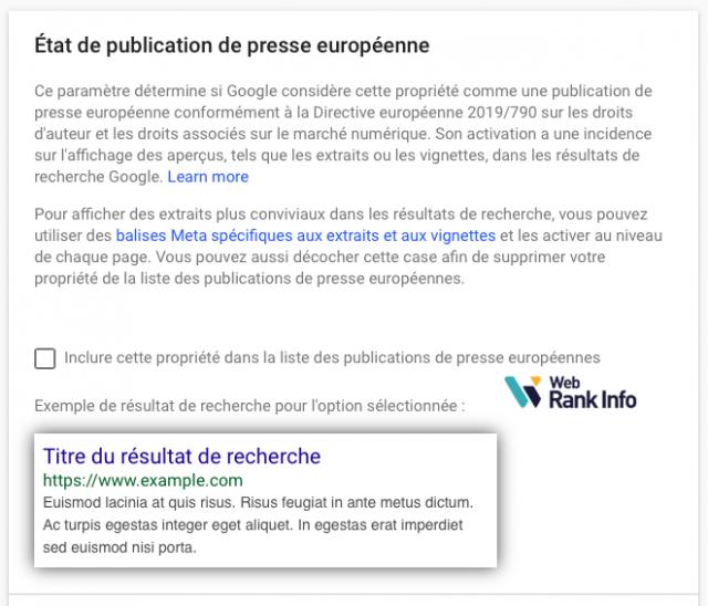 Publication presse européenne désactivée